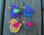 Lot of 4 Crochet Little birds Applique Handmade for scrapbooking/ flat back/ trim/ embellish