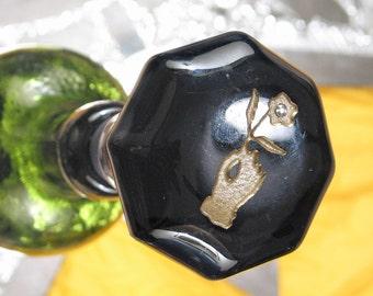 Antique Amethyst Glass Door Knob Bottle Stopper Topper Rose Of