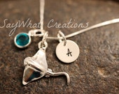 Sterling Silver Mini Initial Charm Necklace with Stingray Charm and birthstone