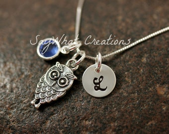 Sterling Silver Mini Initial Hand Stamped Owl Charm Necklace