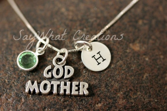 Sterling Silver GODMOTHER Charm Necklace with Mini Hand Stamped Initial and Birthstone