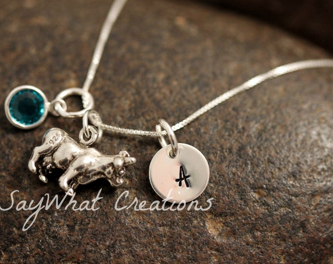 Sterling Silver Mini Initial Charm Necklace with Cow Charm and birthstone