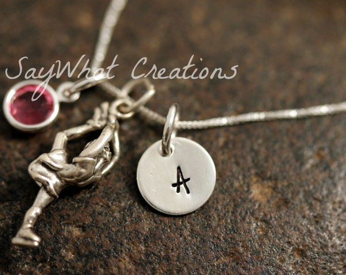 Sterling Silver Mini Initial Charm Necklace with Figure Skater Charm and birthstone