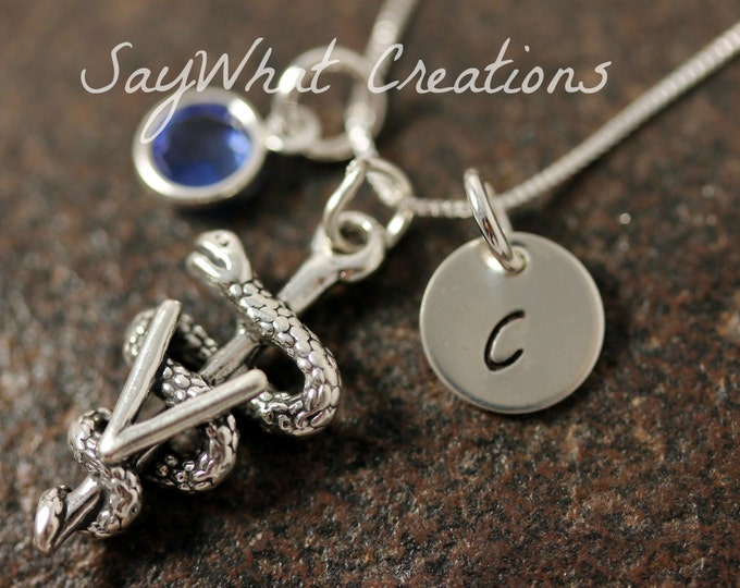 Veterinary Necklace Custom Hand Stamped Sterling Silver Mini Initial with Birthstone and Vet  Symbol Charm
