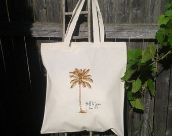 Wedding Welcome Tote -Bridesmaid Tote - Palm Tree with Names and date