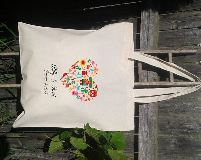 tote bag pattern Wedding Tote 20 -Personalized Wedding Tote- Destination Wedding - Mexico -Maracas - Day of the dead
