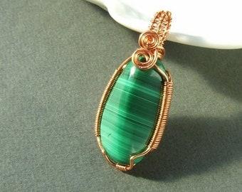 Malachite pendant, spiritual jewelry, natural copper jewelry, malachite loose gem stone