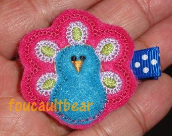 Embroidered Custom Peacock Toddler Baby Girls Felt Hair Clippie Clip - handmade by foucaultbear