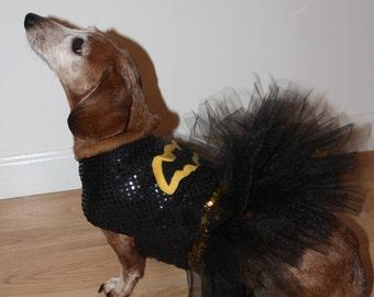 Dog / Dachshund Superhero Bat Girl Costume / Tutu Dress. Comes in Toy, Small & Medium Sizes