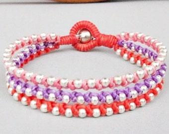 Friendship Multi Line Pink Purple Grenadine Wax Cord with Silver Colour Bead Bracelet B157