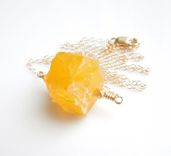 Yellow Marigold Cube Agate Necklace in Gold - OOAK