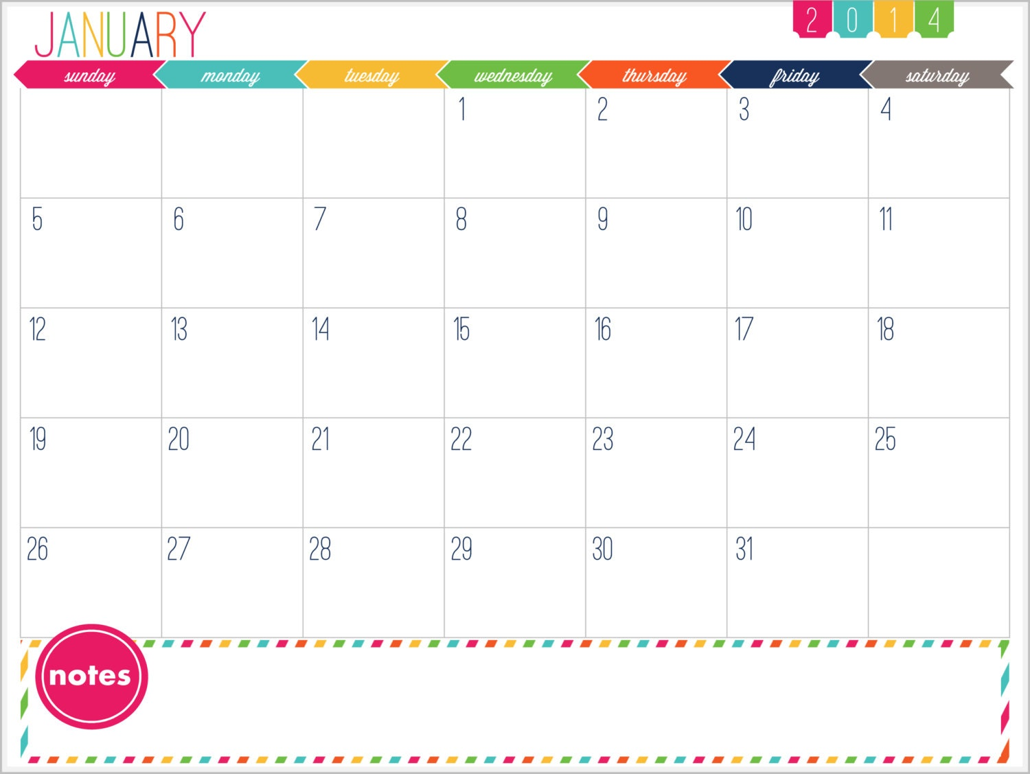 12 month calendar printable prefilled for 2014 instant for 2 month calendar template 2014