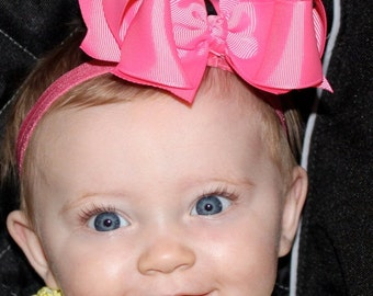 Boutique Baby Girls Hot Pink Elastic Headband with Hot Pink Large Hair Bow Perfect for Everyday or Christmas Holidays