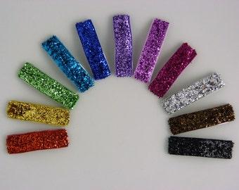 glitter rainbow baby snap clips - set of 11