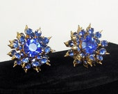 Coro Earrings, Sapphire Rhinestones - Spiky and Spectacular, ca. 1950s