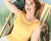 Donatella, the Perfect Summer Jumper c. 1950s - vintage knitting pattern PDF (520)