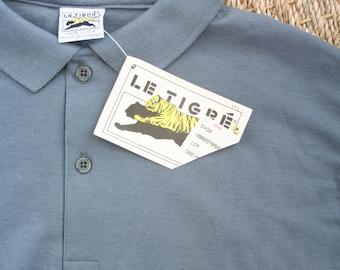 1980s slate gray polo shirt - tiger logo knit shirt / Le Tigre - vintage 80s / deadstock vintage - new old stock vintage shirt
