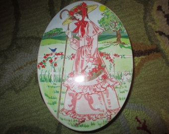 Utterly Charming Oval LITHOGRAPHED CRINOLINE LADY Tin Vintage Basket/Sewing Basket w/2 Handles