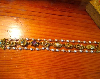 Extremely Unique Stunning ESTATE Signed GOLDETTE Victorian Revival 3-Strand Gold Plate 8 CHARM & Faux Pearls Link Vintage Bracelet