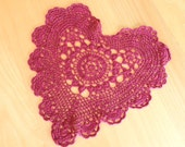 HALF PRICE was 8.00 now 4.00 / Burgundy Heart Doily / Vintage Heart / Cottage Decor / Shabby Chic / Home Decor