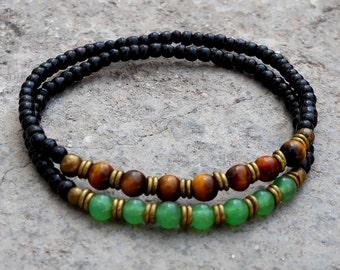 Ebony mala bracelets with aventurine, tiger's eye gemstone and African trade beads
