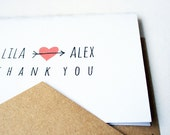 Wedding Thank You Notes -- Arrowed -- Love & Thanks Personalized Set - ready to buy -- Heart/Arrow -- CHOOSE YOUR QUANTITY