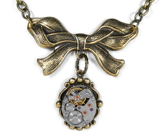 Steampunk Jewelry Necklace Vintage SEIKO Watch Victorian Brass RIBBON BOW Steam Punk Anniversary Mothers Mom - Jewelry by Steampunk Boutique