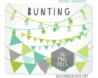 Bunting Clipart & String of Lights in Blue Green and Gray - INSTANT DOWNLOAD