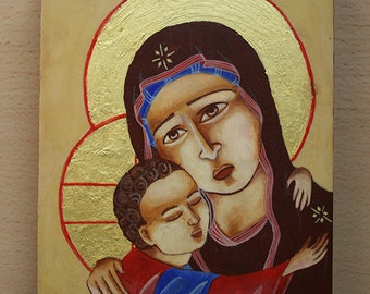 Hand-painted not-so-traditional icon with baby Jesus and Mary