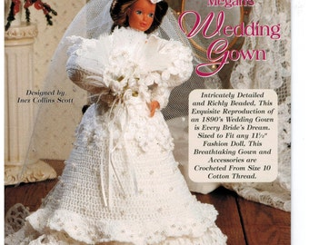 Barbie Victorian Wedding Gown Costume Crochet Pattern pearls accessories