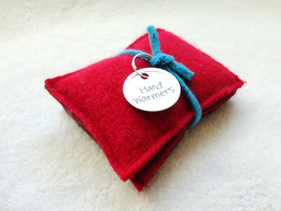Hand Warmers RED & CHARCOAL Wool Rice Bag Handwarmers by WormeWoole