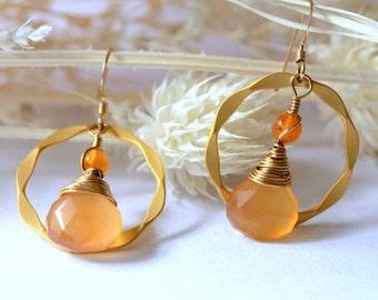 Autumn Gold Earrings, Dangle Earrings, Hoop Earrings Drop Earrings, Chandelier Earrings, Gemstone Earring, Bridal Jewelry, Mother's Day Gift