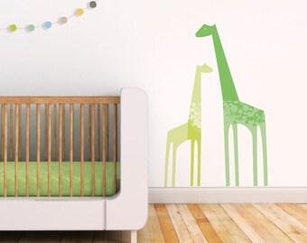 Giraffe Wall Decal, Green Giraffe, Green Wall Decal, Cute Baby Room Decor, Kids Wall Decal. Giraffes Children Wall Decal