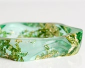 bangle - wavy eco resin  apple green with gold flakes