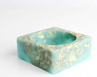 turquoise statement bangle eco resin square bracelet with suspended gold leaf