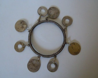 Old Coin Bracelet Collectible Charm Cuff
