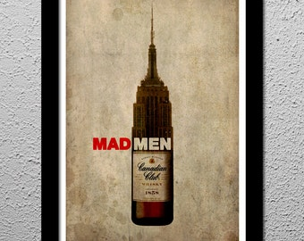 Mad Men NYC - Whiskey - Original Art Print Poster - Don Draper - Sterling Cooper Pryce