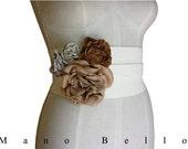 "LEATHER FLOWER BELT Boho Flower Belt Ivory Floral Rustic Wedding Dress Belt Wide Underbust Wide Corset Belt, small medium 25.5 - 32"" waists"