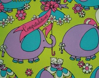Vintage New Elephant Baby Shower Unused Gift Wrap Sheet