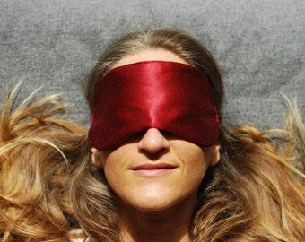 Eye Mask - Boudoir Sleep Mask  - Red - Hemp Silk - Eco Friendly - Handmade - Honeymoon