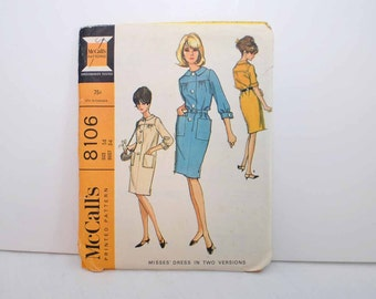 McCalls Dress Pattern  Two Versions -- Size14  Bust 34  Pattern number 8106  --  Vintage 1965 Pattern