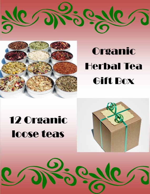 Organic Herbal Tea Gift Box - 12 loose teas in 61mm tins & 2 cotton tea bags included - gift for the tea enthusiast