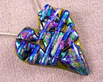 Dichroic Heart Pin AND Pendant - Ripple Shards Rainbow Multicolored Layered Chips of Fused Glass