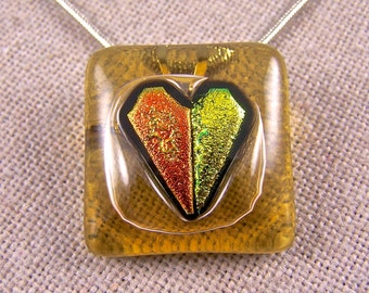 """Dichroic Heart Pendant and Pin - Amber Tan Yellow Gold Copper Orange Fused Glass - 1"""" Square"""