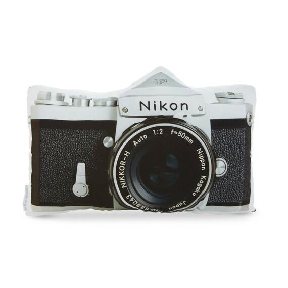 Vintage Nikon F Camera Printed Pillow