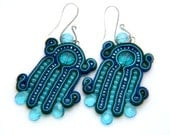 rain forrest waterfall  -  soutache earrings  free shipping