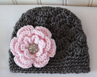 Crochet Girls Hat - Baby Hat - Winter Hat - Newborn Hat - Charcoal Gray (Grey) Pink Flower Rhinestone - in sizes Newborn to 3 Years