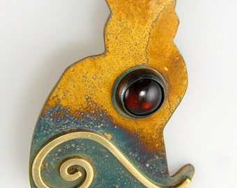 Silver Patina Cat Pin with Red Garnet and Gold Spiral, Sterling Silver Cat Brooch, January Birthstone