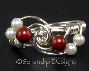 Silver Twist Pearl Cluster Ring, Bordeaux and White Pearl Cluster Ring, Custom Sterling Silver Swarovski Pearl Ring, Brick Red and White