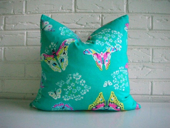Teal and Pink Floral Pillow Cover - Butterfly Decorative Throw Pillow - Cottage Chic Decor